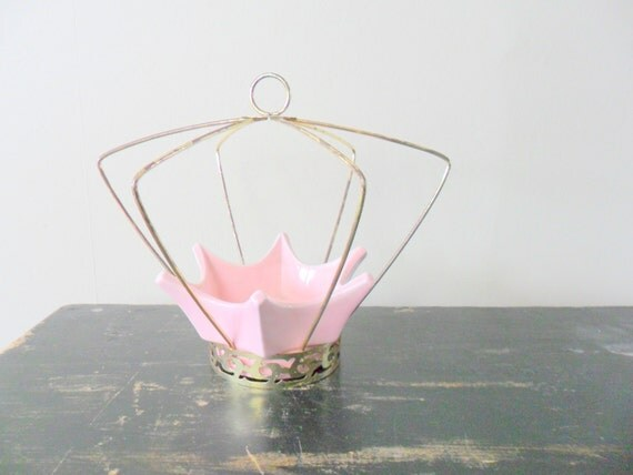 vintage midcentury miramar hanging caged spiderweb planter, pink, brass, patina, summertime