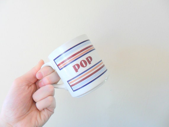 father's day chic mt clemens pottery pop mug - stripes - retro kitchen - dad