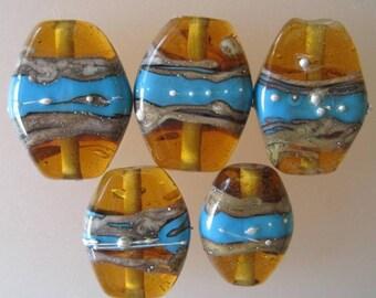 AMBER TOTEM - 2 Handmade Lampwork Glass Beads - Inv170-L1