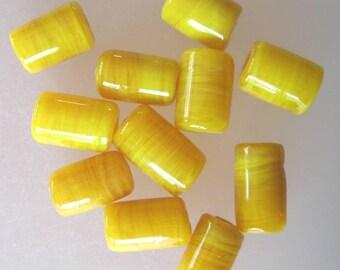 TUBES - SUNSHINE - 5 Handmade Lampwork Transparent Glass Beads - Inv319