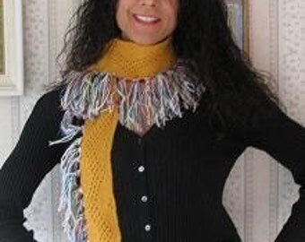 Knitted Stylish Lace Scarf with Ribbon & Nubs Fringe