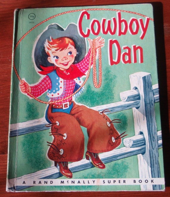 COWBOY DAN ~ vintage Rand McNally Junior Elf Book, no writing, 15¢ w/ 32 pages
