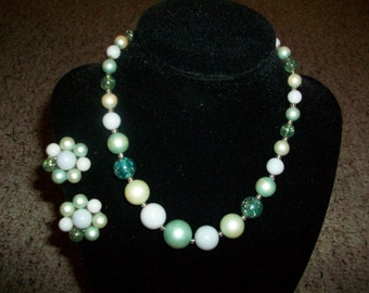 Vintage signed JAPAN Beaded Necklace and Earring set GREEN -SALE-
