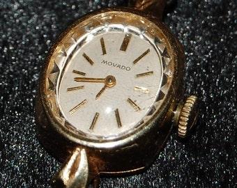 Vintage Movado 14K Gold Ladies Watch Black Band-MEGA SALE