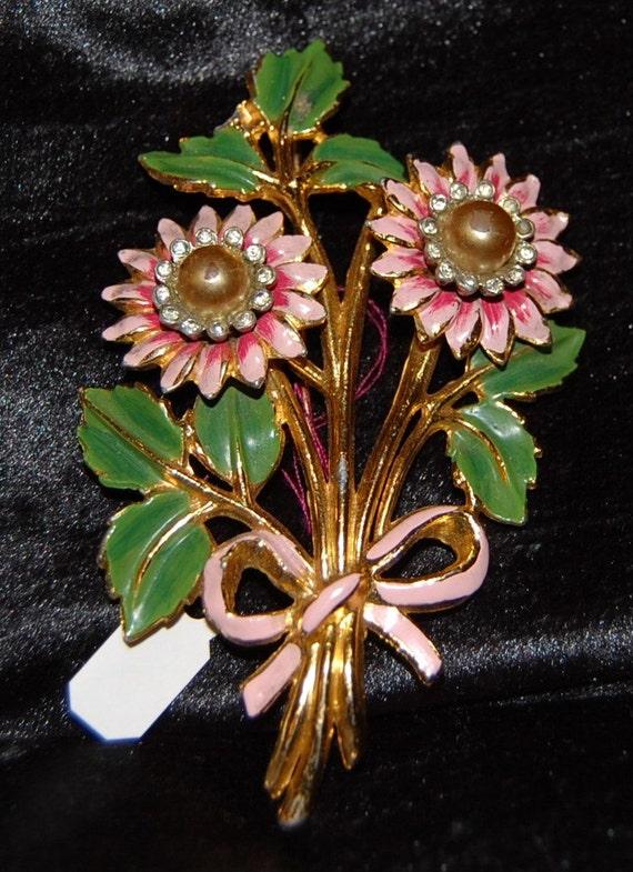 Large Vintage Hand Painted Pink Flower Rhinestone Pin Brooch-SALE-