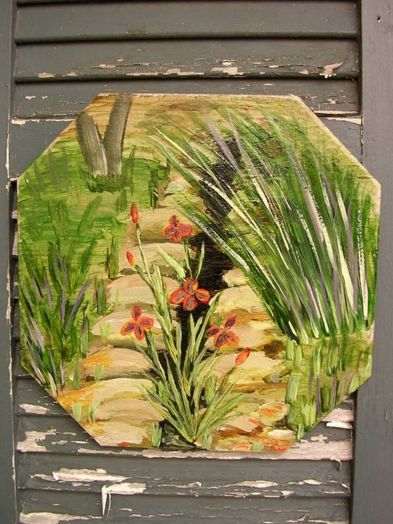 Tile trivet garden art hotplate hand painted plaque
