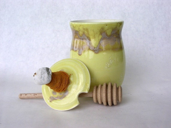 Honey dipper pot jar set with lid and stick yellow glaze