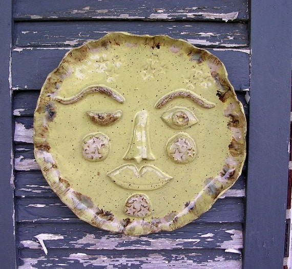 Garden art ceramic sun plaque outdoor wall hanging