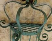Iron Folk Art Shabby Sconce, Bird Cage, Chippy Wall Decor, Blue Hue