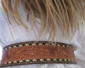 Vintage Tony Lama Cowboy Western Tooled Leather Belt and BUTCH Buckle