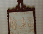 Shabby Cast Iron Wall Décor, Frame, Trivet French Cottage Inspired, BURGUNDY
