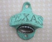 TEXAS Bottle Beer Opener Cast Iron Rustic Turquoise Blue Treasury Listing