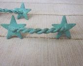 Salvaged Texas Shabby Metal Star Handles, SET of two Rustic Twisted Pull Knob, Blue Green Hue
