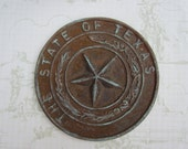 Texas State SEAL, Decorative Rustic 5 Point Star, Wall Decor, Paper Weight, Blue Hue