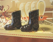 Lit'l Ceramic Cowboy Boots Great for Western Theme Decor Birthday Cake Topper Texas Star