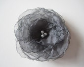 Charcoal Grey Organza Flower Hair Clip