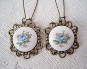 Blue Rose Cameo Earrings Antique Brass Sky Blue Flower Dangle Earrings Vintage Style Jewelry Antique Brass Jewelry
