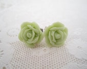 Green Floral Stud Earrings Flower Post Earrings Rose Stud Earrings Floral Pastel Grass Green Earrings Vintage Style Jewelry