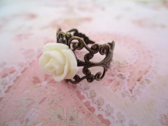Petite Cream Rose Filigree Ring