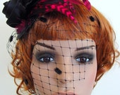Vintage Vamp...Hot Pink and Black Feather Cocktail Hat, Black Satin Rose, Birdcage Veil,  One of a Kind