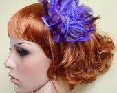 RESERVED FOR MARIA  Dahlia Bloom...Lavender Feather Fascinator Hair Clip, One of a Kind