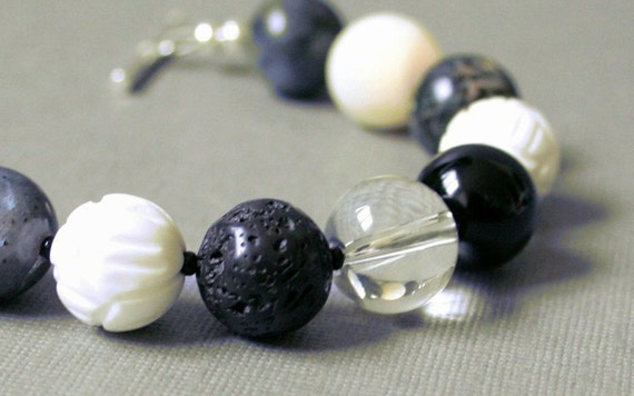 50% OFF CLOSING SALE - Larvikite Bracelet, Onyx, Mother Of Pearl, Carved Shell, Lava, Sterling Silver