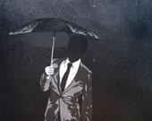 Umbrella Assassin - Original Stencil Painting on Stretched Canvas - 16 x 20