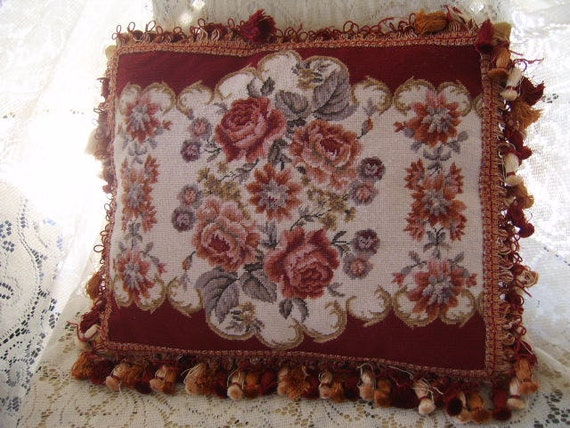 Beautiful Pink and Maroon Roses Needlepoint Tassels Feather Down PIllow
