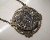 Vintage Art Nouveau Lady Face Medallion Pendant Bronze Necklace SALE