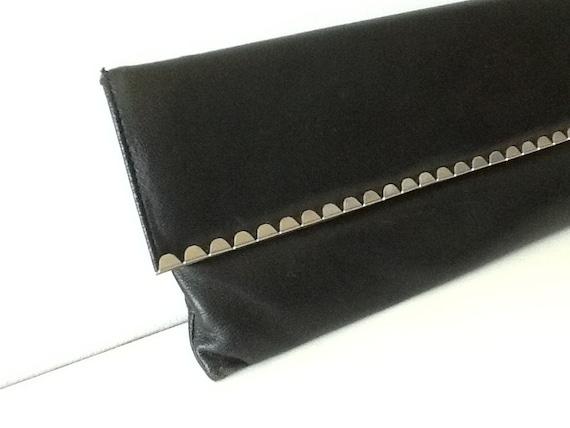 Vintage Jane Shilton 1960s Black Leather Metal Scalloped Edge Clutch