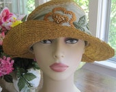 Vintage 1920s Natural Color Brimmed Straw Hat with Beautiful Silk Embroidered Wide Floral Flower Band