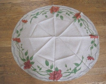 Vintage Natural Linen Arts and Crafts Embroidered and Hand Painted Roses Round Table Topper Doilie