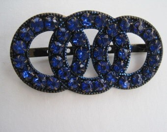 Vintage Cobalt Blue Rhinestone Belt Buckle Sew On