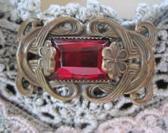 Vintage Victorian Red Rhinestone Pin Brooch Original C Clasp
