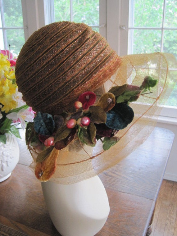 RESERVED Vintage Large Wired Brimmed Orange Peach Horsehair Crinoline Picture Hat w Velvet Flowers Berries Garden Party Wedding Hat