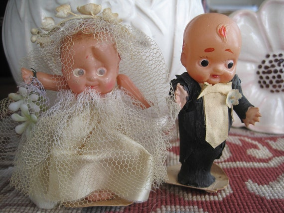RESERVED Vintage Great Gatsby 1920s Celluloid Bride and Groom Wedding Cake Topper 4 Inches Kewpie Doll