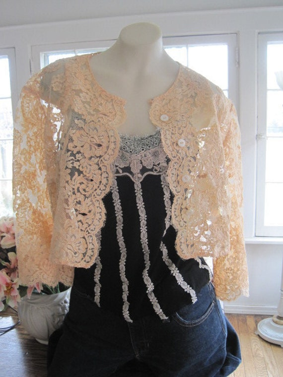 RESERVED  Vintage 1930s Peach Embroidered Tulle Floral Flower Lace Bolero Shrug Jacket Blouse Top with Mother of Pearl Buttons