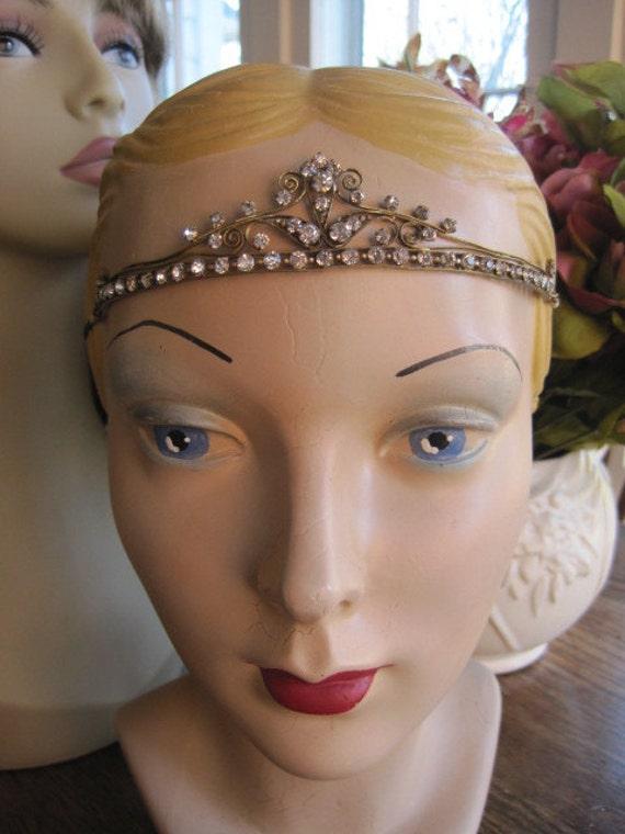 RESERVED for Molly Vintage 1920s Flapper Art Deco Dainty Princess Tiara Crown Rhinestone Paste Headband Bride Bridal Wedding Headpiece