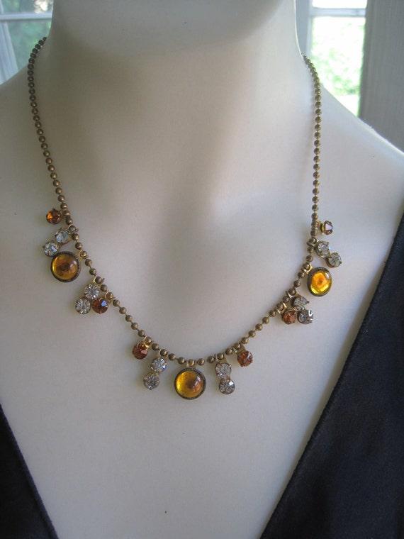 Vintage 30s Unusual Brass Gold Clear Rhinestone Drop Open Back Necklace