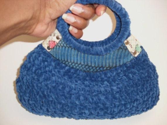 Small Crochet Wrist Bag-Denim Blue with Denim and Designer Cobra Snakeskin Trim