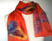 Handpainted silk scarf orange red with butterflies in purple blue pink yellow vibrant multicolor summer fashion accessorie