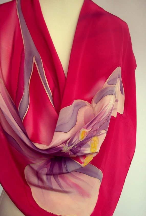 Silk Scarf  Handpainted Luxurious Crepe de Chine  Magenta Violet Floral Unique  Fall Accessorie