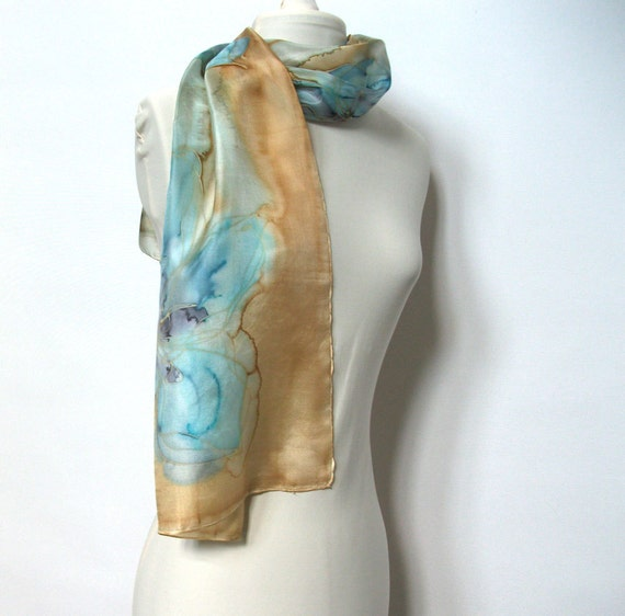 Handpainted silk scarf blue beige spring fashion accessorie by TanjaDesign on etsy