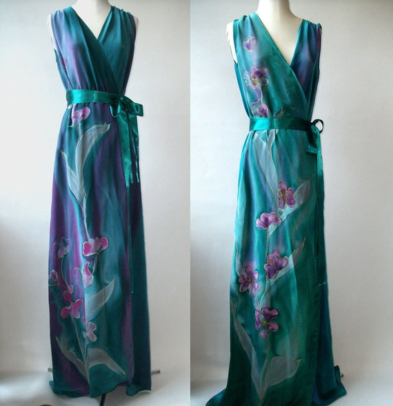Two Floral Hand Painted Custom Made Silk Bridesmaids  Wrap Dresses  - Custom order for Dacca - Balance payment