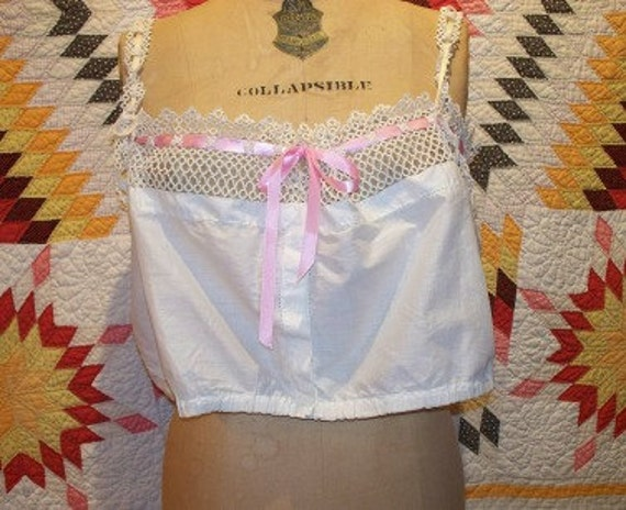 SALE Vintage Camisole, Tatting, Edwardian, Off White, Cotton, Sweet, Sexy