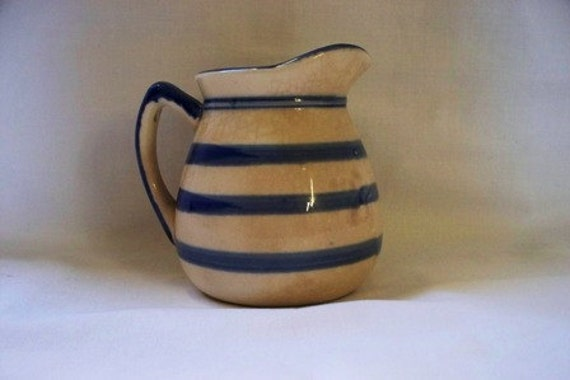 Vintage, Primitive Creamer Blue and White or Cream Striped, Antique Jug, Primitive Décor, Charming, Brimming with Character