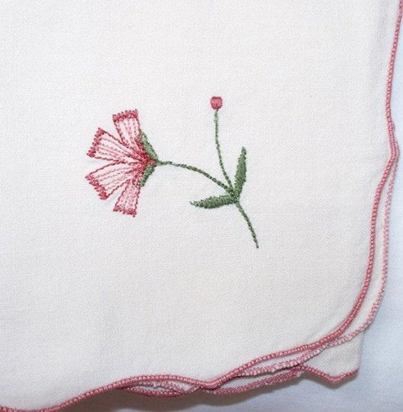 SALE Vintage Cloth Napkins, Cotton, Embroidered, Mauve, Scalloped Hem, Edge, 10 Cotton Napkins, Dinner Napkins, Luncheon Napkins