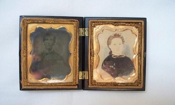 Thermoplastic Union Case, Photos, Antique Photography, Antique Picture Frame, Daguerreotype, Watercolor, Man, Woman Portraits, 1860s