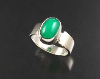 Chrysoprase ring, Sterling, size 6