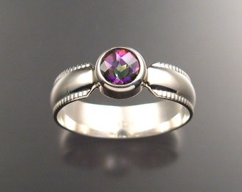 Mystic Topaz Mans Ring, Sterling, Any size